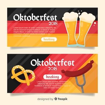 Mooie oktoberfest-banners met vlak ontwerp