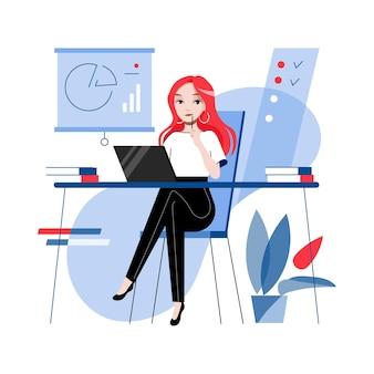 Mooie onderneemster op de werkplek. jonge aantrekkelijke vrouw beambte werkt in het kantoor