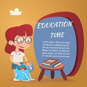 Mooie onderwijsillustratie met meisje die schoolboeken in geïsoleerde schooltas toevoegen