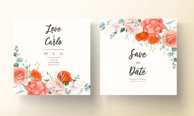 Mooie oranje bloem bruiloft uitnodiging kaartsjabloon Gratis Vector