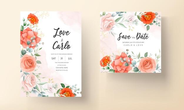 Mooie oranje bloem bruiloft uitnodiging kaartsjabloon