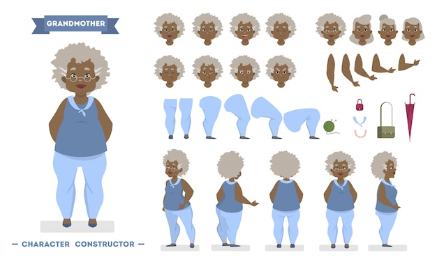 Mooie oudere afro-amerikaanse vrouw tekenset voor animatie met verschillende weergaven, kapsels, gezichtsemoties, poses en gebaren. illustratie in cartoon-stijl