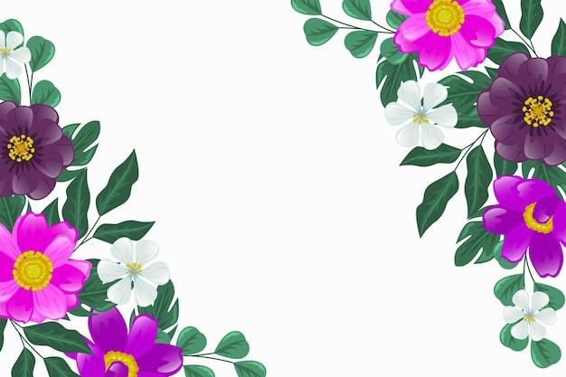 Mooie paarse bloemen achtergrond Gratis Vector