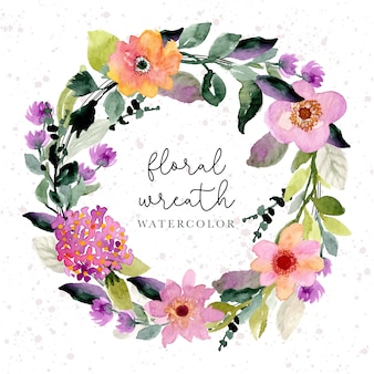 Mooie paarse bloemen krans aquarel achtergrond
