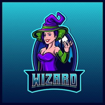 Mooie paarse heks goochelaar mascotte esport logo ontwerp illustraties sjabloon heks goochelaar logo