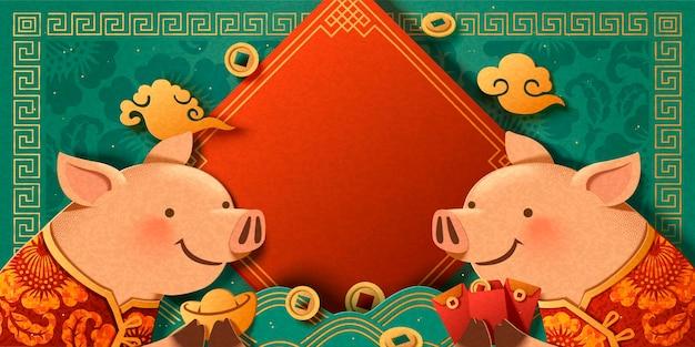 Mooie papieren kunstpiggy die elkaar begroeten op een turkooizen achtergrond