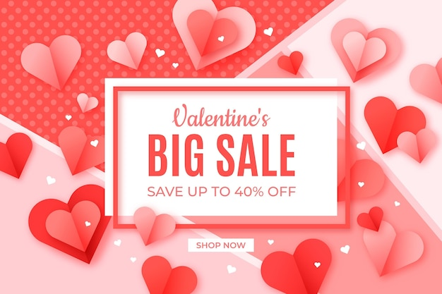 Mooie papieren stijl valentijnsdag verkoop achtergrond