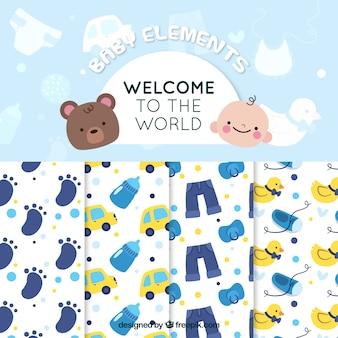 Mooie patronen van baby shower verpakking