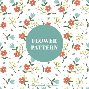 Mooie patroon met rode en blauwe bloemen in plat design
