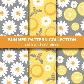 Mooie patrooncollectie met madeliefjes, citroenen, bijen en zon.