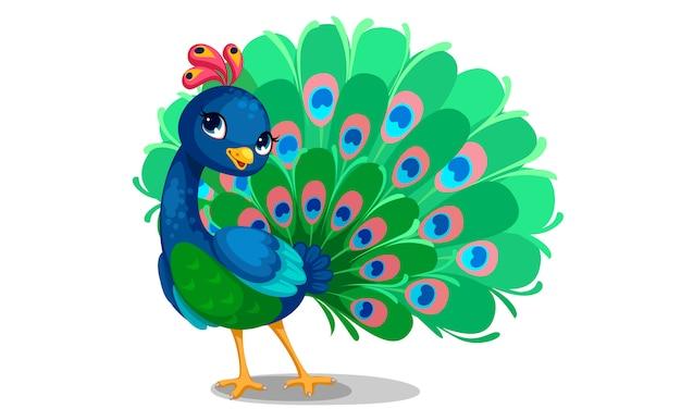 Mooie pauw cartoon omtrek tekenen om in te kleuren