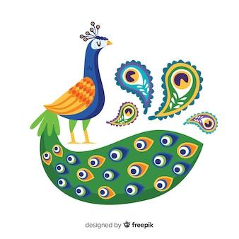 Mooie pauw in vlakke stijl