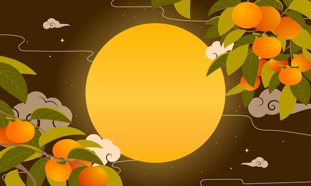 Mooie persimmonbomen in de herfstnacht