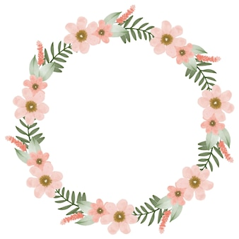 Mooie perzik krans cirkelframe met perzik bloem en groene bladrand