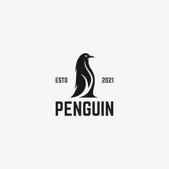 Mooie pinguïn logo ontwerpsjabloon