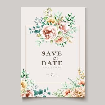 Mooie pioen bloeiende bloem aquarel bruiloft kaarten sjabloon
