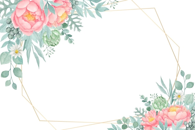 Mooie pioenroos bloem met geometrische gouden frame