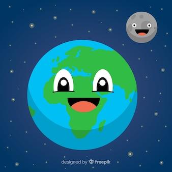 Mooie planeet aarde met cartoon-stijl