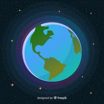 Mooie planeet aarde met plat ontwerp