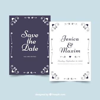 Mooie platte bruiloft uitnodiging met ornamenten