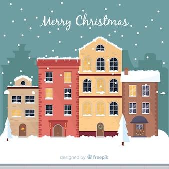 Mooie platte kerststad achtergrond