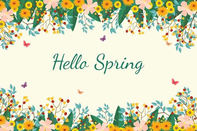 Mooie platte lente achtergrond met bloemen