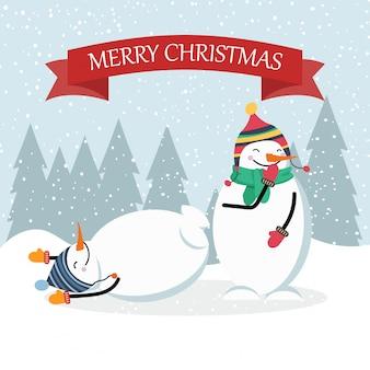 Mooie platte ontwerp kerstkaart grappige sneeuwpop