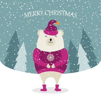 Mooie platte ontwerp kerstkaart met geklede ijsbeer