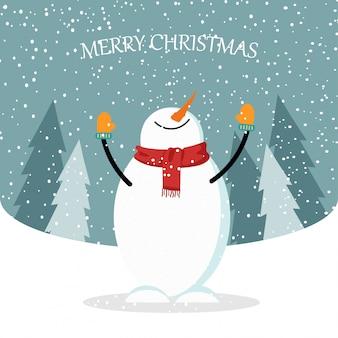 Mooie platte ontwerp kerstkaart met sneeuwpop