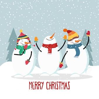 Mooie platte ontwerp kerstkaart met vrolijke sneeuwpop