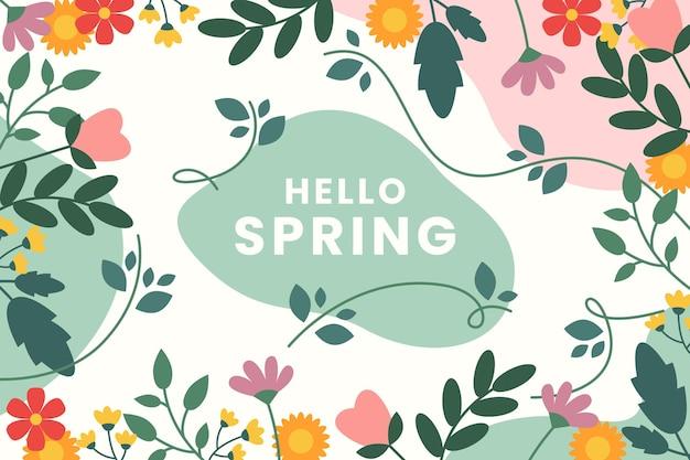 Mooie platte ontwerp lente achtergrond met bloemen