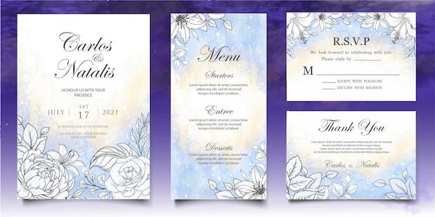Mooie plons en bloemen lineart bruiloft kaartsjabloon