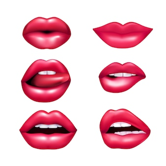 Mooie pluche vrouwelijke lippen die verschillende emoties nabootsen nabootsen reeks die op witte achtergrond wordt geïsoleerd rea