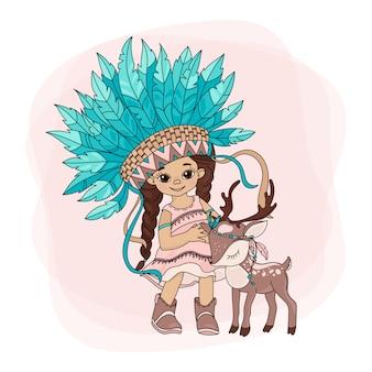 Mooie pocahontas indianenprinses