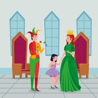 Mooie prinses met joker en fee in kasteel