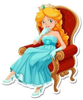 Mooie prinses stripfiguur sticker