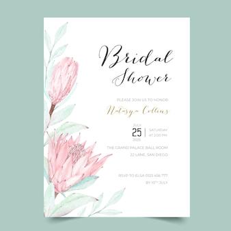 Mooie protea bruids douche uitnodiging sjabloon