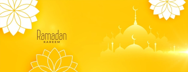 Mooie ramadan kareem gele bloemen banner ontwerp