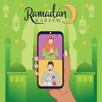 Mooie ramadan kareem sociale media via telefoon platte ontwerp illustratie sjabloon.