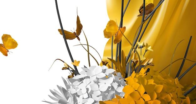 Mooie realistische bloem en vlinder achtergrond Premium Vector