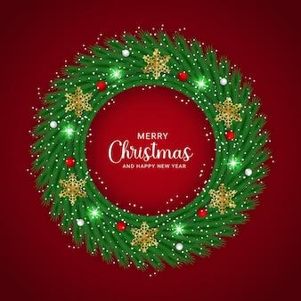 Mooie realistische kerstkrans versierd met een rode achtergrond ontwerpsjabloon