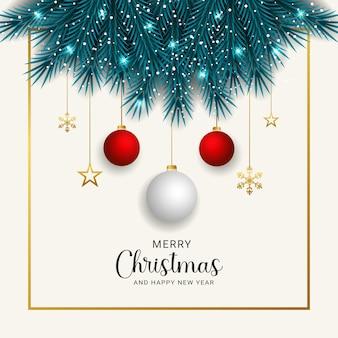 Mooie realistische kerstkrans versierd met gouden decoratie ontwerpsjabloon
