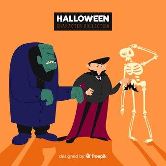 Mooie reeks halloween-karakters met vlak ontwerp
