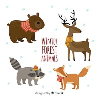 Mooie reeks hand getrokken de winterdieren