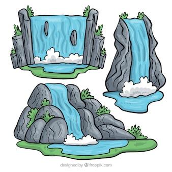 Mooie reeks hand getrokken watervallen