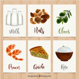 Mooie reeks kaarten van het waterverfvoedsel