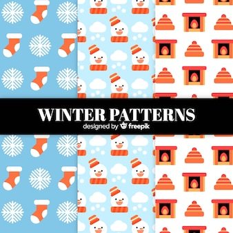 Mooie reeks kleurrijke de winterpatronen
