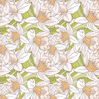 Mooie regeling van de lentebloemen van witte gele narcissen