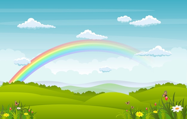 Mooie regenbooghemel met de groene aard van de weideberg