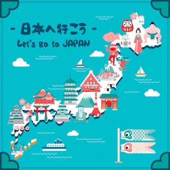 Mooie reiskaart voor japan laten we naar japan gaan in het japans